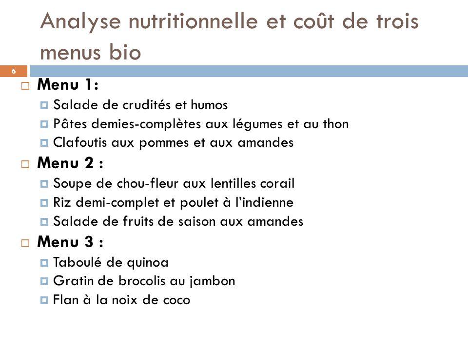 Analyse nutritionnelle et coût de trois menus bio Menu 1: Salade de crudités et humos Pâtes demies-complètes aux légumes et au thon Clafoutis aux pomm