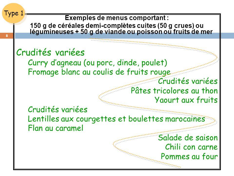Exemples de menus comportant : 150 g de céréales demi-complètes cuites (50 g crues) ou légumineuses + 50 g de viande ou poisson ou fruits de mer Crudi