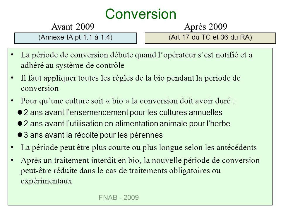 FNAB - 2009 Conversion (Annexe IA pt 1.1 à 1.4)(Art 17 du TC et 36 du RA) Avant 2009Après 2009 La période de conversion débute quand lopérateur sest n