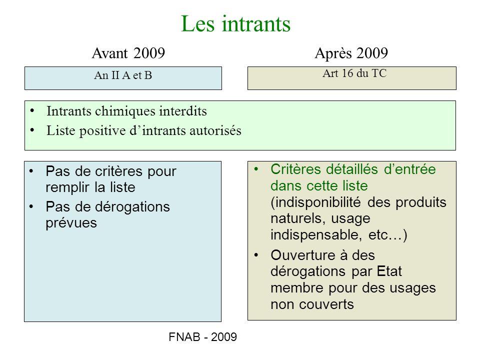 FNAB - 2009 Pas de critères pour remplir la liste Pas de dérogations prévues Critères détaillés dentrée dans cette liste (indisponibilité des produits