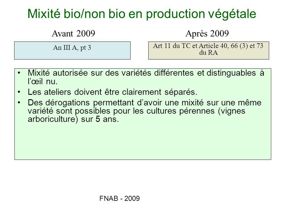 FNAB - 2009 Mixité bio/non bio en production végétale Mixité autorisée sur des variétés différentes et distinguables à lœil nu. Les ateliers doivent ê