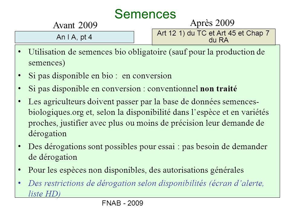FNAB - 2009 Semences An I A, pt 4 Art 12 1) du TC et Art 45 et Chap 7 du RA Avant 2009 Après 2009 Utilisation de semences bio obligatoire (sauf pour l