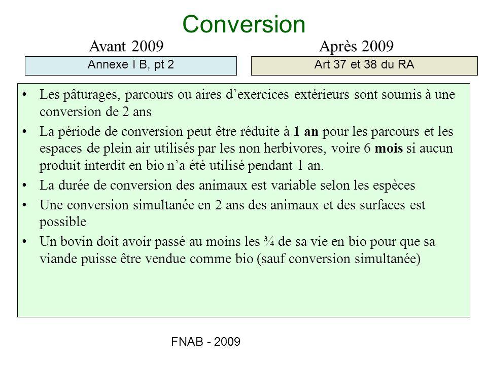 FNAB - 2009 Conversion Annexe I B, pt 2Art 37 et 38 du RA Avant 2009Après 2009 Les pâturages, parcours ou aires dexercices extérieurs sont soumis à un