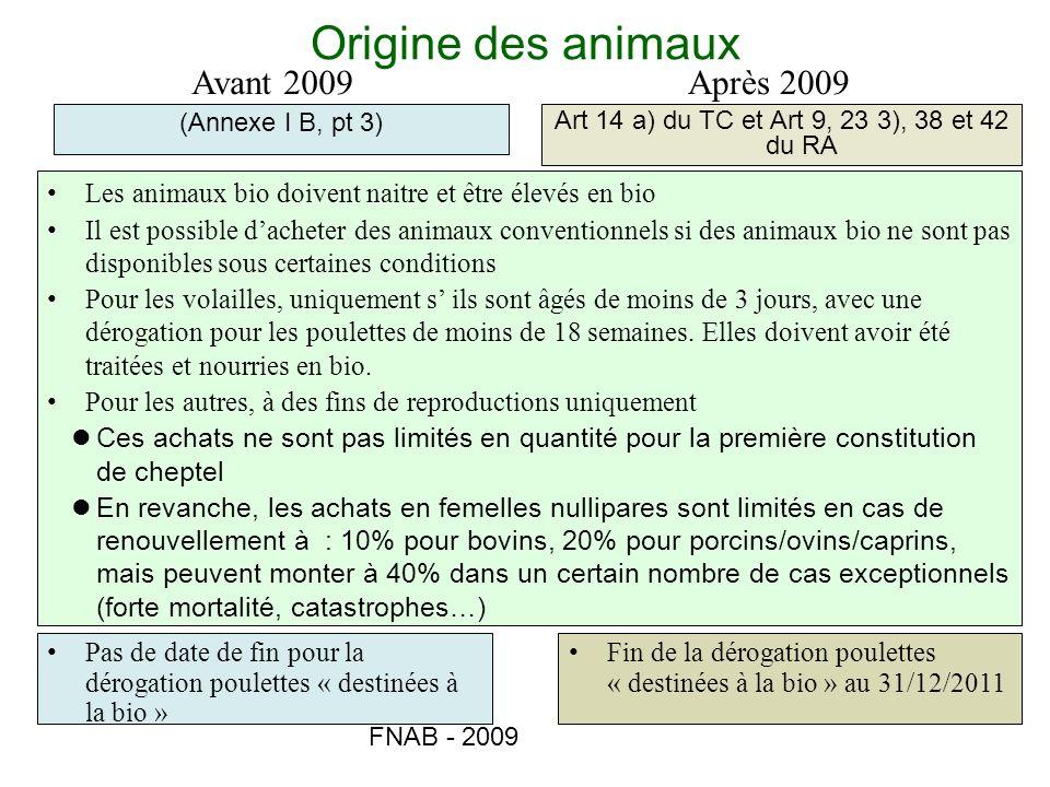 FNAB - 2009 Origine des animaux (Annexe I B, pt 3) Art 14 a) du TC et Art 9, 23 3), 38 et 42 du RA Avant 2009Après 2009 Les animaux bio doivent naitre