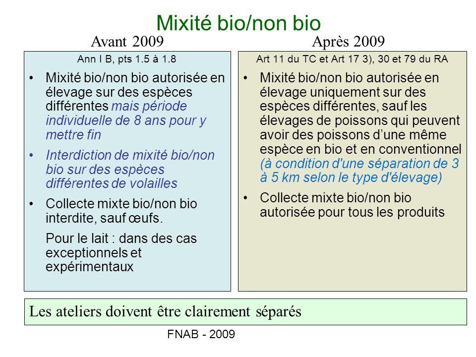 FNAB - 2009 Mixité bio/non bio Ann I B, pts 1.5 à 1.8 Mixité bio/non bio autorisée en élevage sur des espèces différentes mais période individuelle de