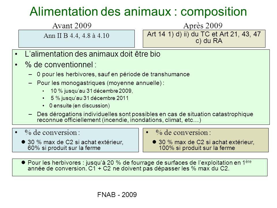 FNAB - 2009 Alimentation des animaux : composition Lalimentation des animaux doit être bio % de conventionnel : –0 pour les herbivores, sauf en périod