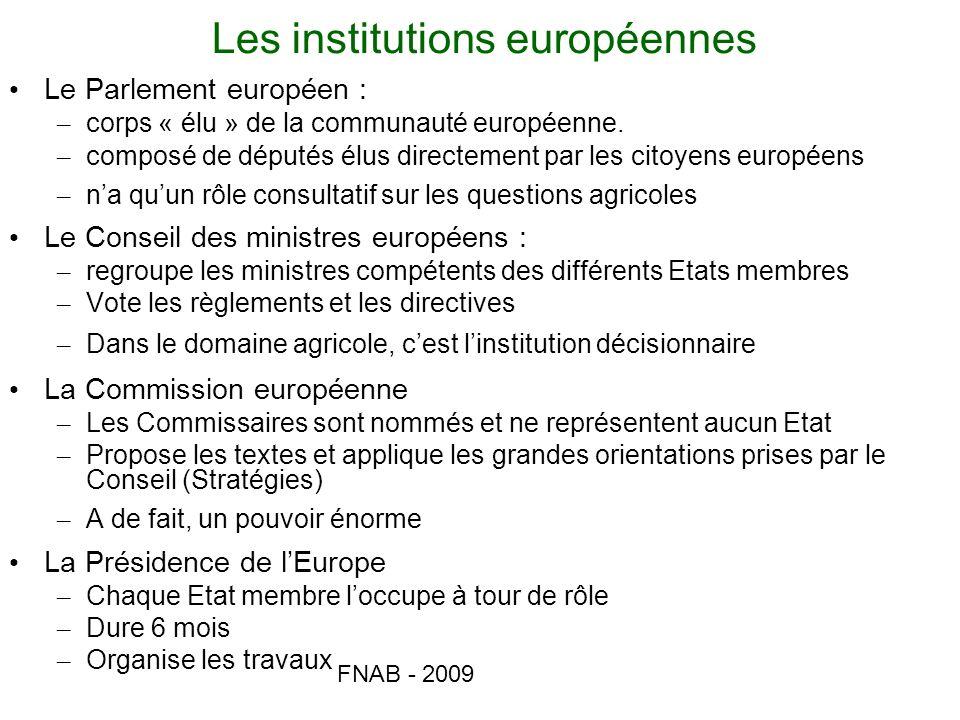FNAB - 2009 Les institutions européennes Le Parlement européen : – corps « élu » de la communauté européenne. – composé de députés élus directement pa