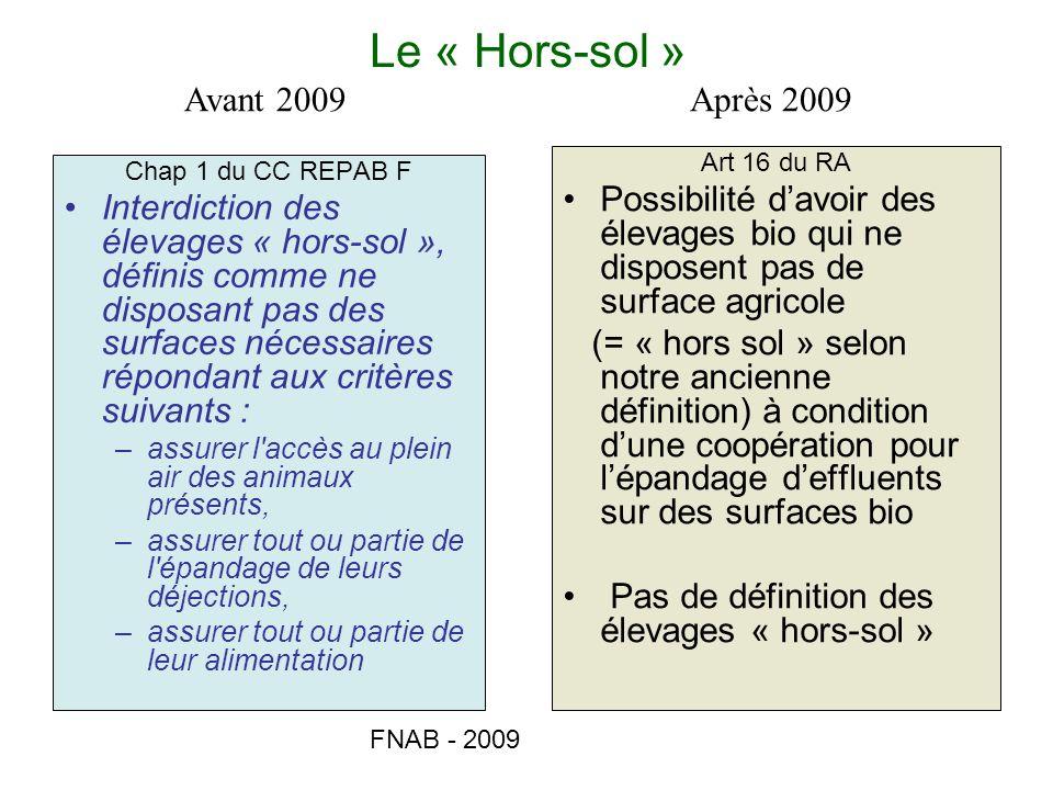 FNAB - 2009 Le « Hors-sol » Chap 1 du CC REPAB F Interdiction des élevages « hors-sol », définis comme ne disposant pas des surfaces nécessaires répon