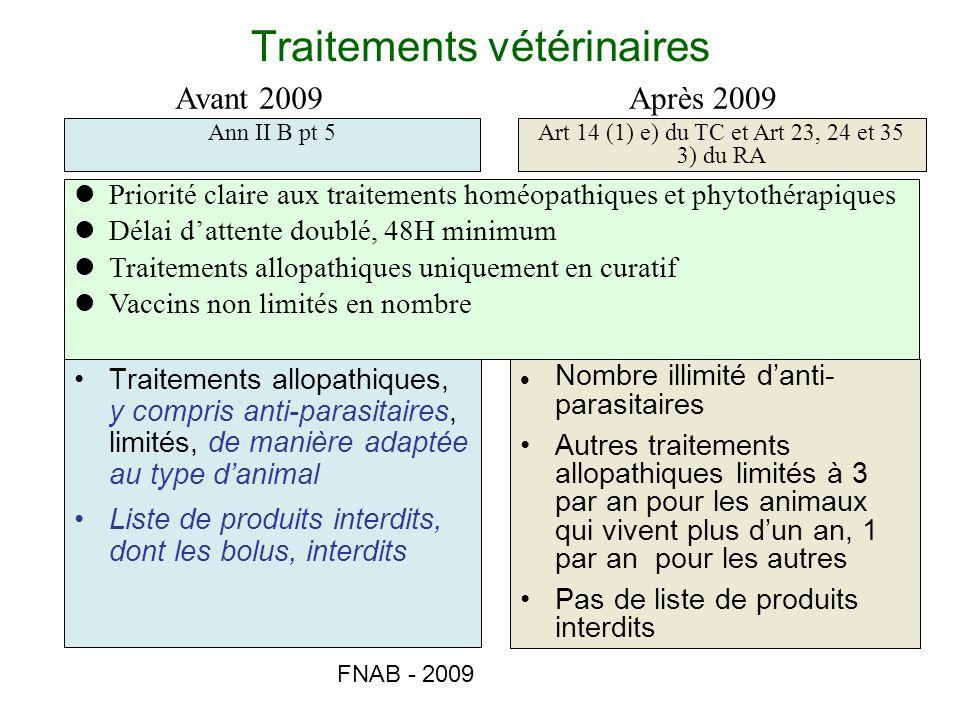 FNAB - 2009 Traitements vétérinaires Traitements allopathiques, y compris anti-parasitaires, limités, de manière adaptée au type danimal Liste de prod