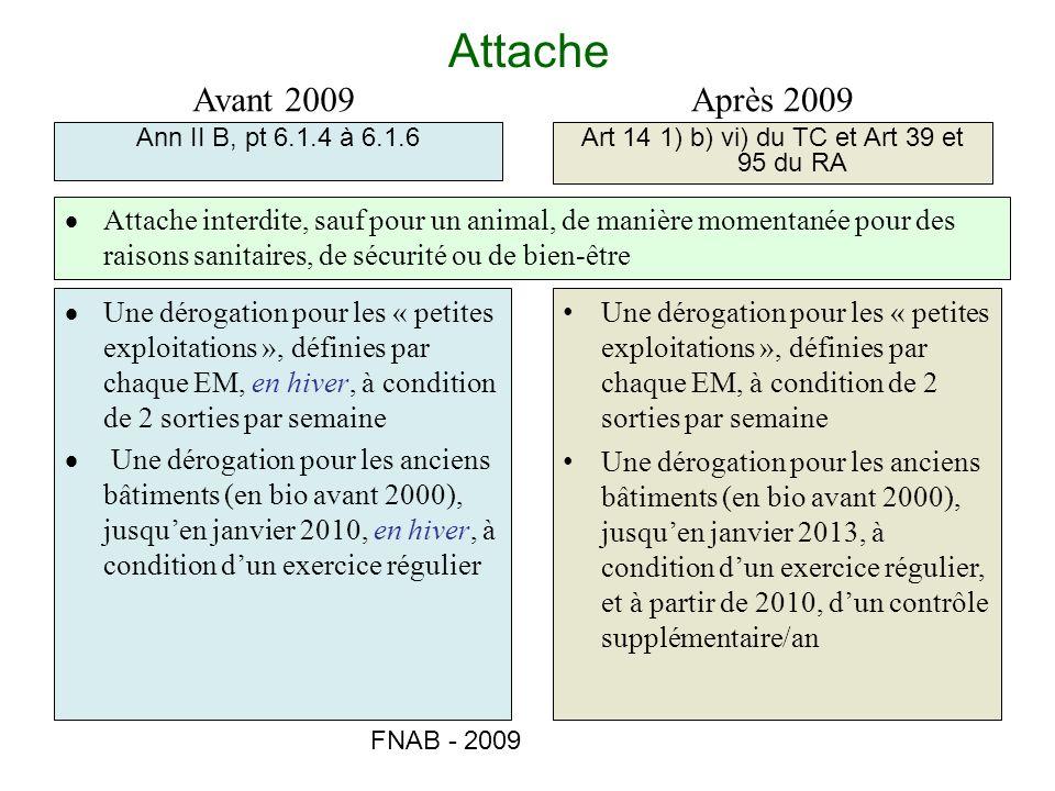 FNAB - 2009 Attache Ann II B, pt 6.1.4 à 6.1.6Art 14 1) b) vi) du TC et Art 39 et 95 du RA Avant 2009Après 2009 Attache interdite, sauf pour un animal