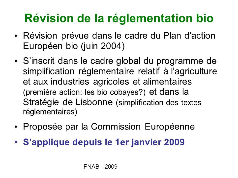 FNAB - 2009 Mixité bio/non bio Ann I B, pts 1.5 à 1.8 Mixité bio/non bio autorisée en élevage sur des espèces différentes mais période individuelle de 8 ans pour y mettre fin Interdiction de mixité bio/non bio sur des espèces différentes de volailles Collecte mixte bio/non bio interdite, sauf œufs.