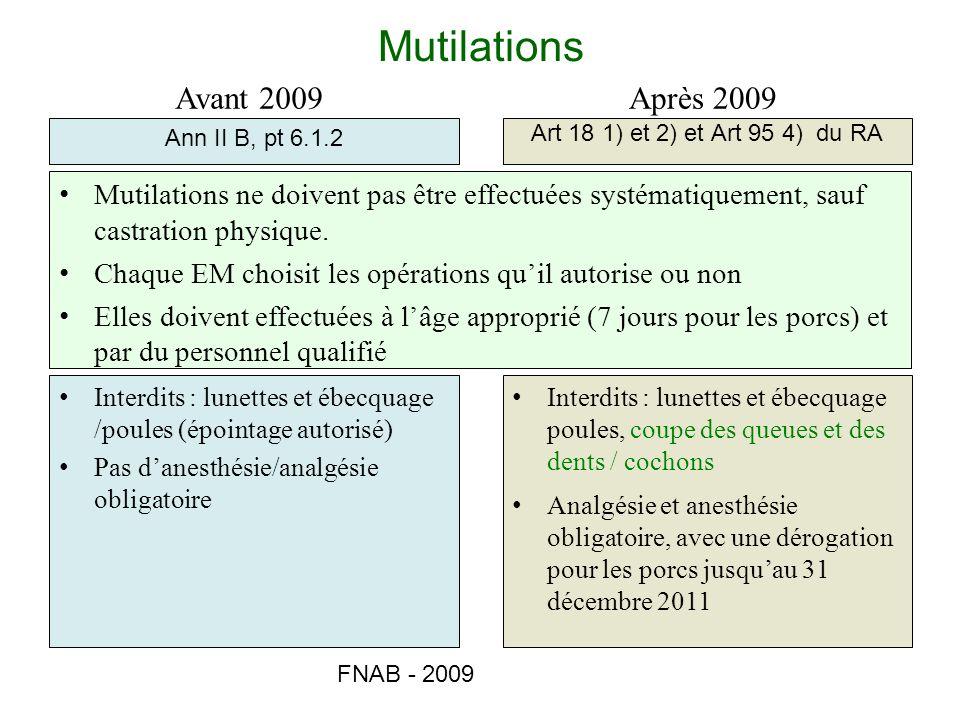 FNAB - 2009 Mutilations Ann II B, pt 6.1.2 Art 18 1) et 2) et Art 95 4) du RA Avant 2009Après 2009 Mutilations ne doivent pas être effectuées systémat