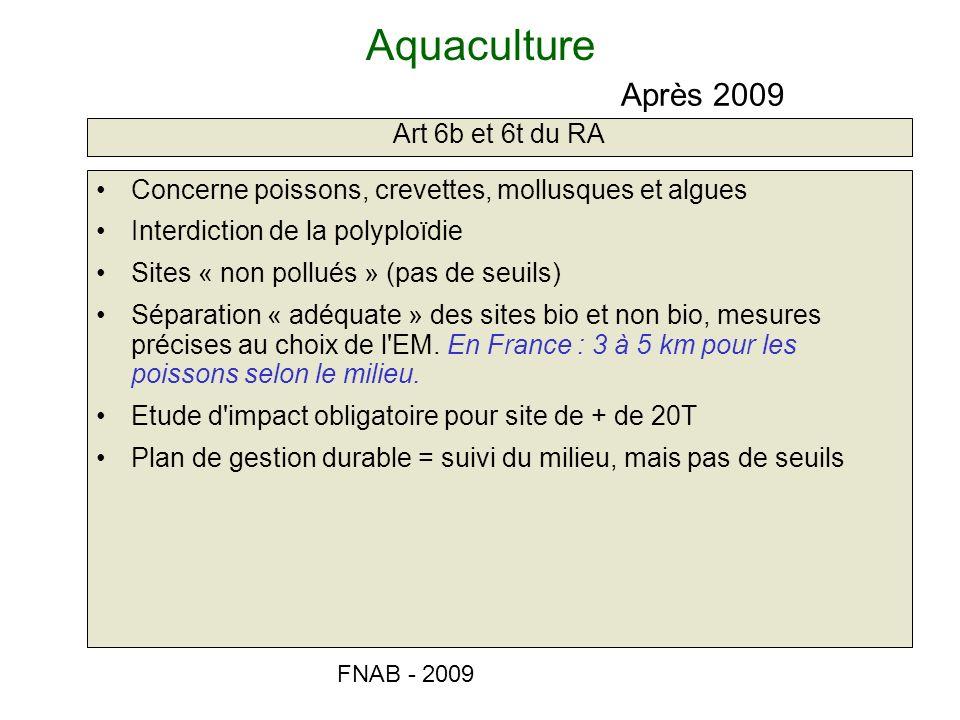 FNAB - 2009 Aquaculture Art 6b et 6t du RA Après 2009 Concerne poissons, crevettes, mollusques et algues Interdiction de la polyploïdie Sites « non po