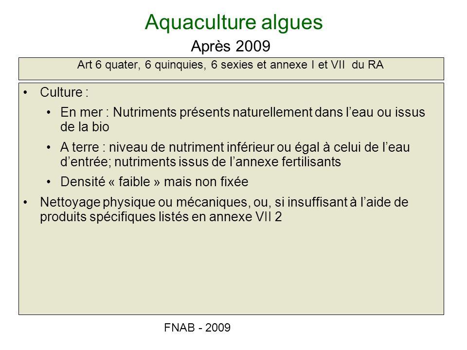 FNAB - 2009 Aquaculture algues Art 6 quater, 6 quinquies, 6 sexies et annexe I et VII du RA Après 2009 Culture : En mer : Nutriments présents naturell