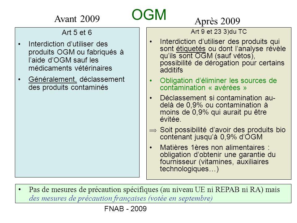 FNAB - 2009 OGM Art 5 et 6 Interdiction dutiliser des produits OGM ou fabriqués à laide dOGM sauf les médicaments vétérinaires Généralement, déclassem