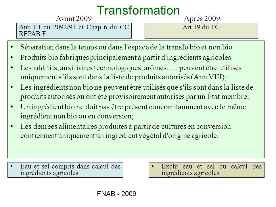 FNAB - 2009 Transformation Avant 2009Après 2009 Ann III du 2092/91 et Chap 6 du CC REPAB F Art 19 du TC Séparation dans le temps ou dans l'espace de l