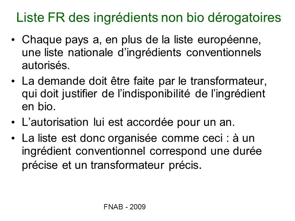 FNAB - 2009 Liste FR des ingrédients non bio dérogatoires Chaque pays a, en plus de la liste européenne, une liste nationale dingrédients conventionne