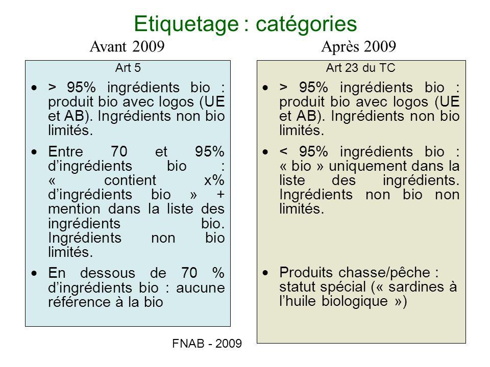 FNAB - 2009 Etiquetage : catégories Art 5 > 95% ingrédients bio : produit bio avec logos (UE et AB). Ingrédients non bio limités. Entre 70 et 95% ding