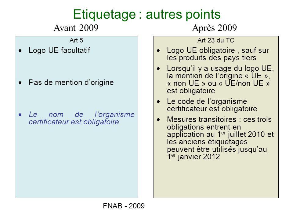 FNAB - 2009 Etiquetage : autres points Art 5 Logo UE facultatif Pas de mention dorigine Le nom de lorganisme certificateur est obligatoire Art 23 du T