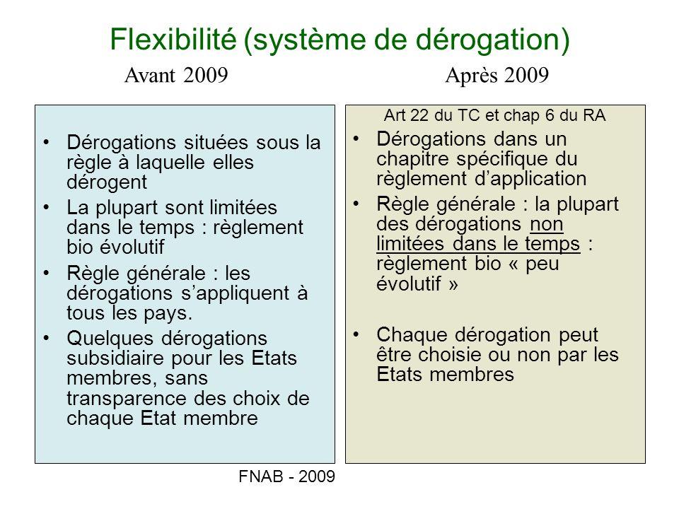 FNAB - 2009 Flexibilité (système de dérogation) Dérogations situées sous la règle à laquelle elles dérogent La plupart sont limitées dans le temps : r