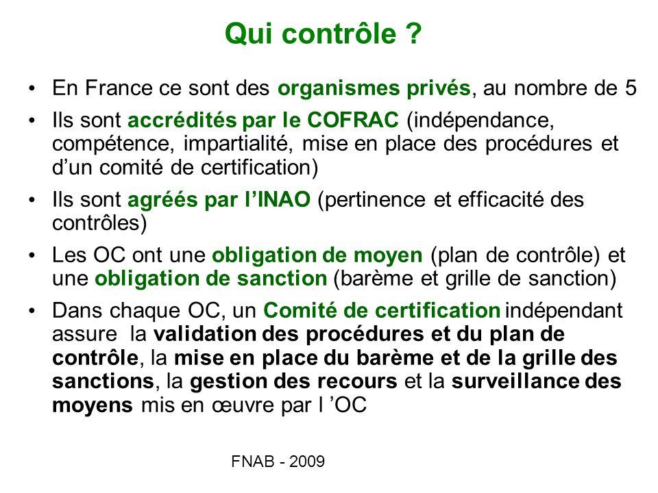 FNAB - 2009 Qui contrôle ? En France ce sont des organismes privés, au nombre de 5 Ils sont accrédités par le COFRAC (indépendance, compétence, impart