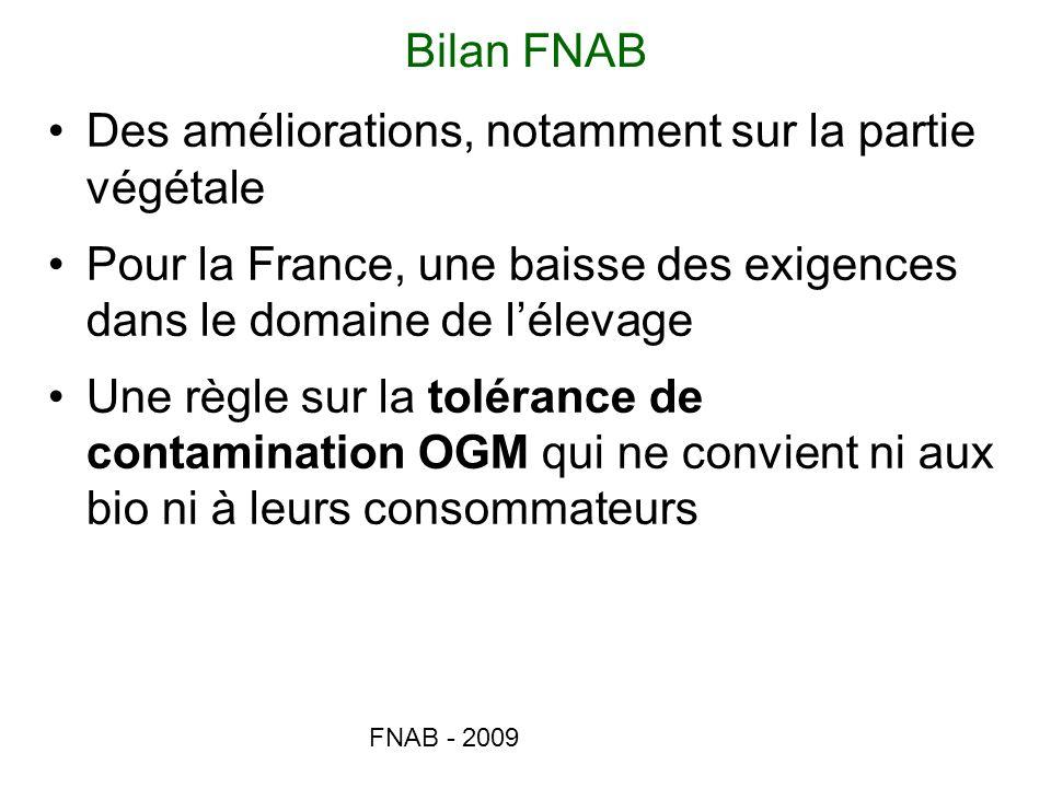 FNAB - 2009 Bilan FNAB Des améliorations, notamment sur la partie végétale Pour la France, une baisse des exigences dans le domaine de lélevage Une rè
