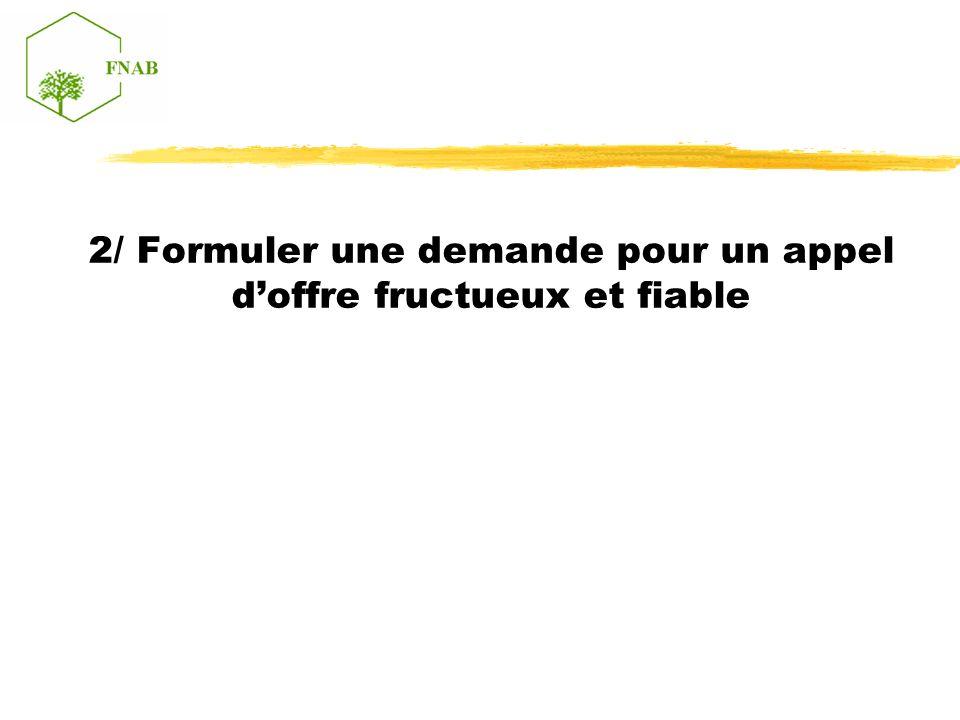 2/ Formuler une demande pour un appel doffre fructueux et fiable