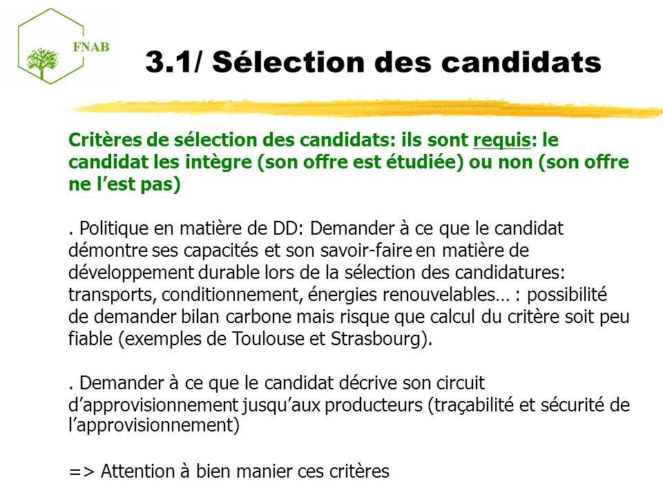3.1/ Sélection des candidats Critères de sélection des candidats: ils sont requis: le candidat les intègre (son offre est étudiée) ou non (son offre ne lest pas).