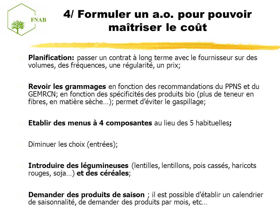 Planification: passer un contrat à long terme avec le fournisseur sur des volumes, des fréquences, une régularité, un prix; Revoir les grammages en fonction des recommandations du PPNS et du GEMRCN; en fonction des spécificités des produits bio (plus de teneur en fibres, en matière sèche…); permet déviter le gaspillage; Etablir des menus à 4 composantes au lieu des 5 habituelles; Diminuer les choix (entrées); Introduire des légumineuses (lentilles, lentillons, pois cassés, haricots rouges, soja…) et des céréales; Demander des produits de saison ; il est possible détablir un calendrier de saisonnalité, de demander des produits par mois, etc… 4/ Formuler un a.o.