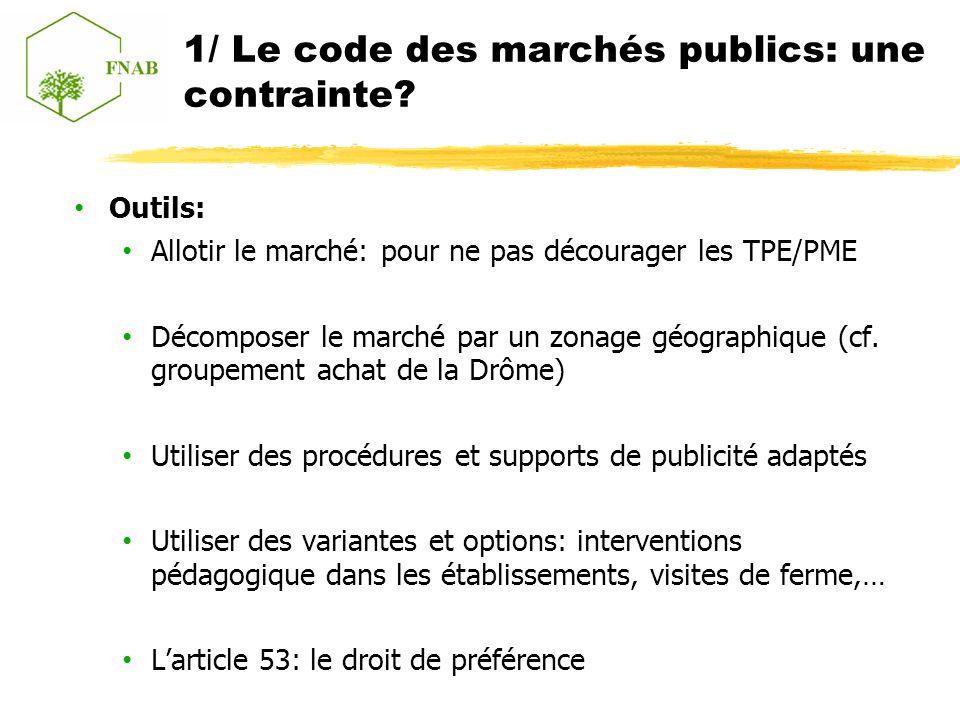1/ Le code des marchés publics: une contrainte.