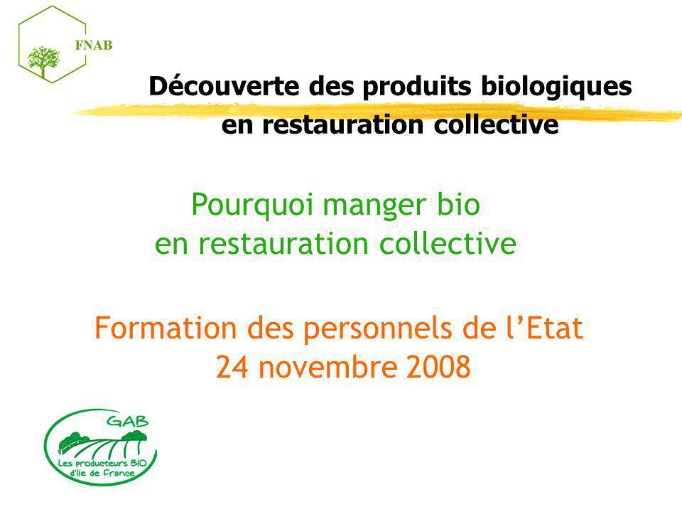 Découverte des produits biologiques en restauration collective Pourquoi manger bio en restauration collective Formation des personnels de lEtat 24 nov