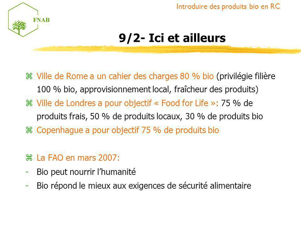 zVille de Rome a un cahier des charges 80 % bio (privilégie filière 100 % bio, approvisionnement local, fraîcheur des produits) zVille de Londres a po