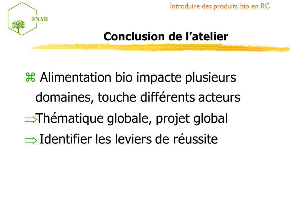 z Alimentation bio impacte plusieurs domaines, touche différents acteurs Thématique globale, projet global Identifier les leviers de réussite Introdui
