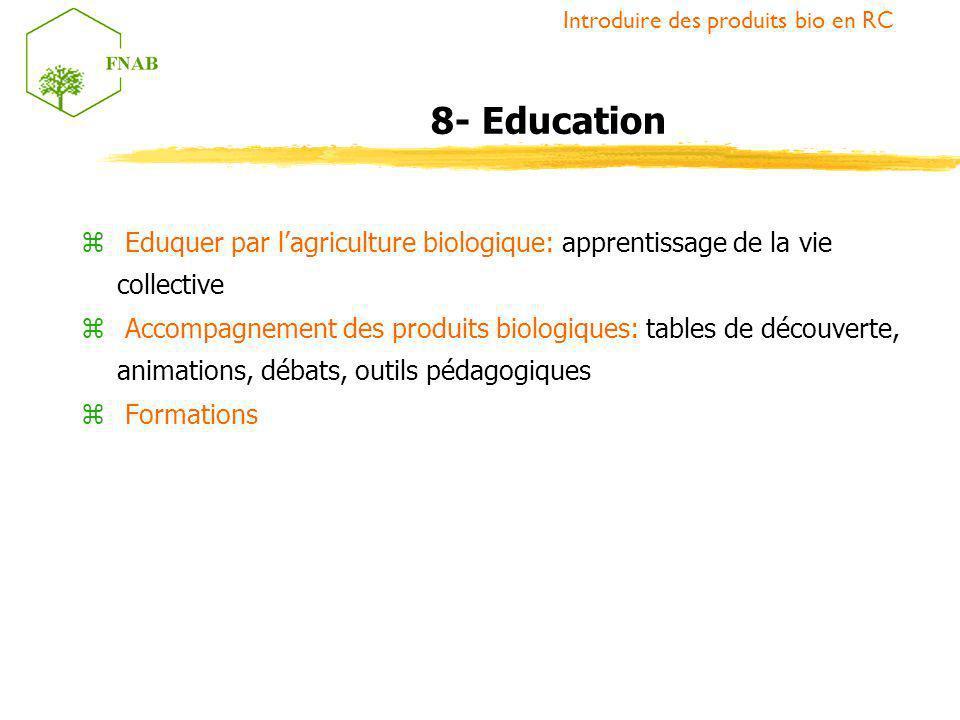 z Eduquer par lagriculture biologique: apprentissage de la vie collective z Accompagnement des produits biologiques: tables de découverte, animations,