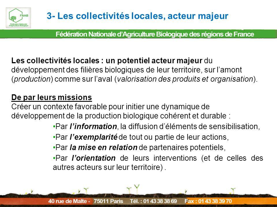 Les collectivités locales : un potentiel acteur majeur du développement des filières biologiques de leur territoire, sur lamont (production) comme sur