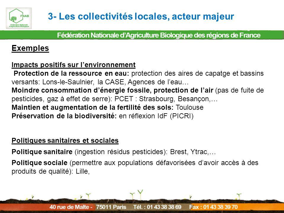 Exemples Impacts positifs sur lenvironnement Protection de la ressource en eau: protection des aires de capatge et bassins versants: Lons-le-Saulnier,