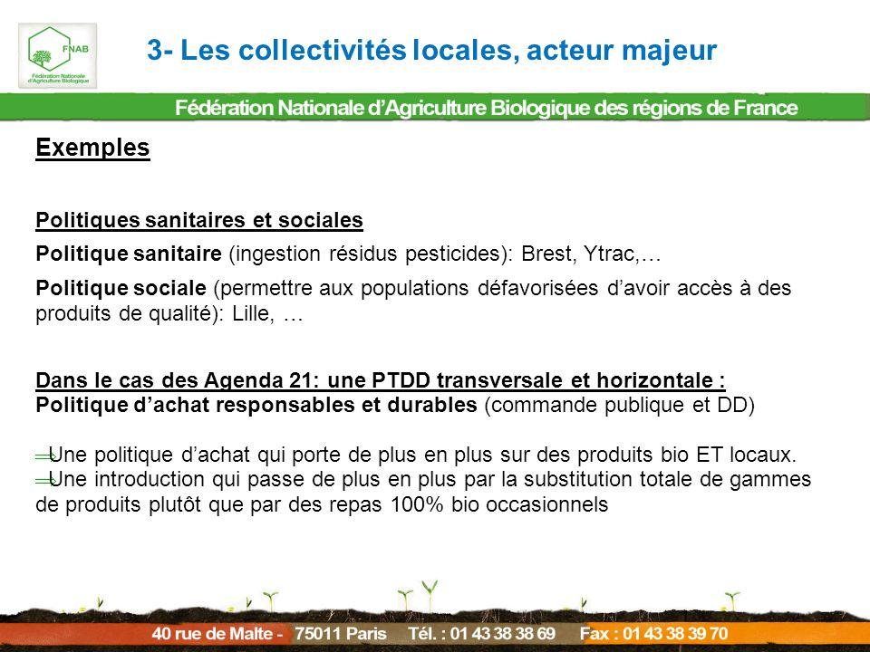 Exemples Politiques sanitaires et sociales Politique sanitaire (ingestion résidus pesticides): Brest, Ytrac,… Politique sociale (permettre aux populat