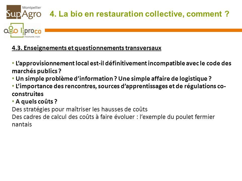 4. La bio en restauration collective, comment ? 4.3. Enseignements et questionnements transversaux Lapprovisionnement local est-il définitivement inco