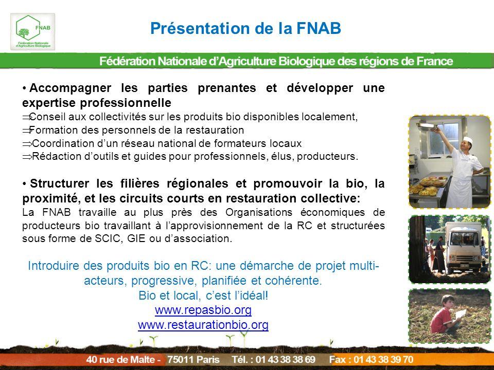 Présentation de la FNAB Accompagner les parties prenantes et développer une expertise professionnelle Conseil aux collectivités sur les produits bio d
