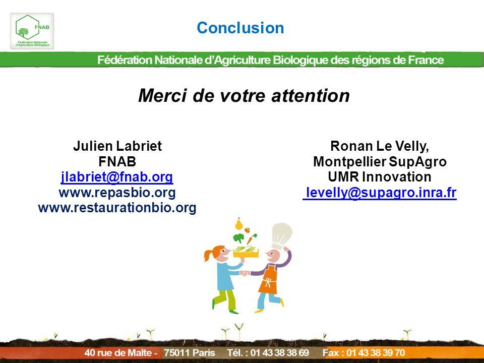 Conclusion Merci de votre attention Julien Labriet FNAB jlabriet@fnab.org www.repasbio.org www.restaurationbio.org Ronan Le Velly, Montpellier SupAgro