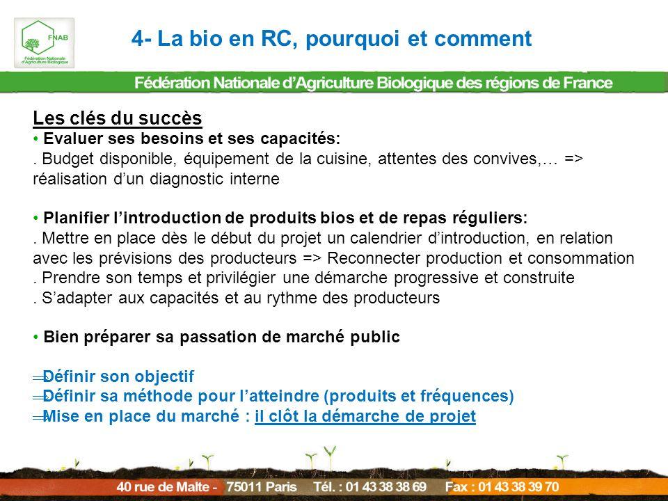 4- La bio en RC, pourquoi et comment Les clés du succès Evaluer ses besoins et ses capacités:. Budget disponible, équipement de la cuisine, attentes d