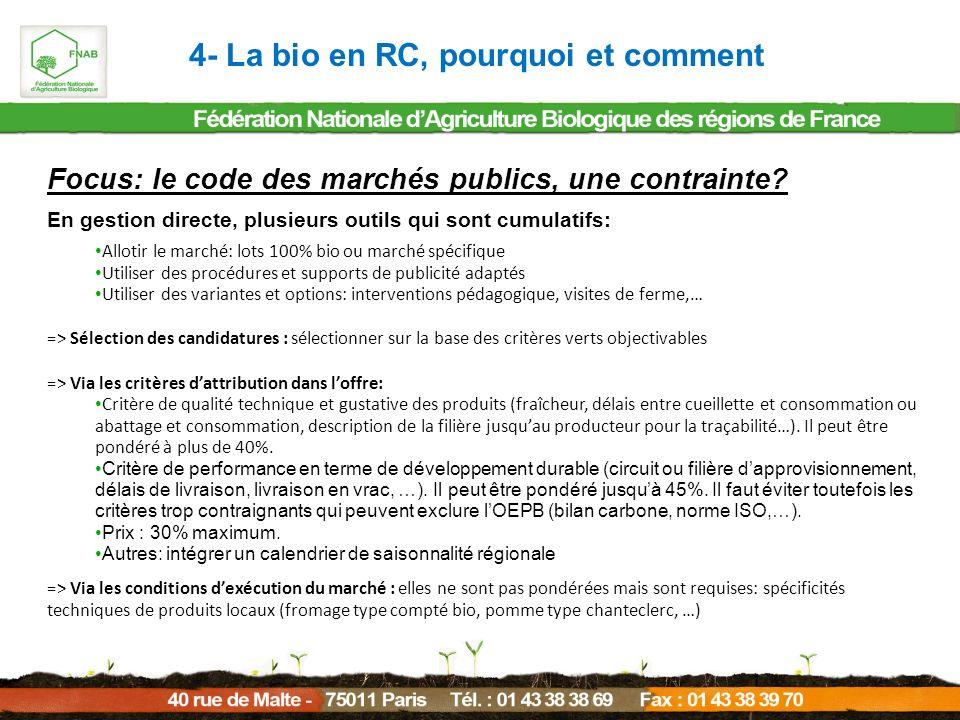 4- La bio en RC, pourquoi et comment Focus: le code des marchés publics, une contrainte? En gestion directe, plusieurs outils qui sont cumulatifs: All