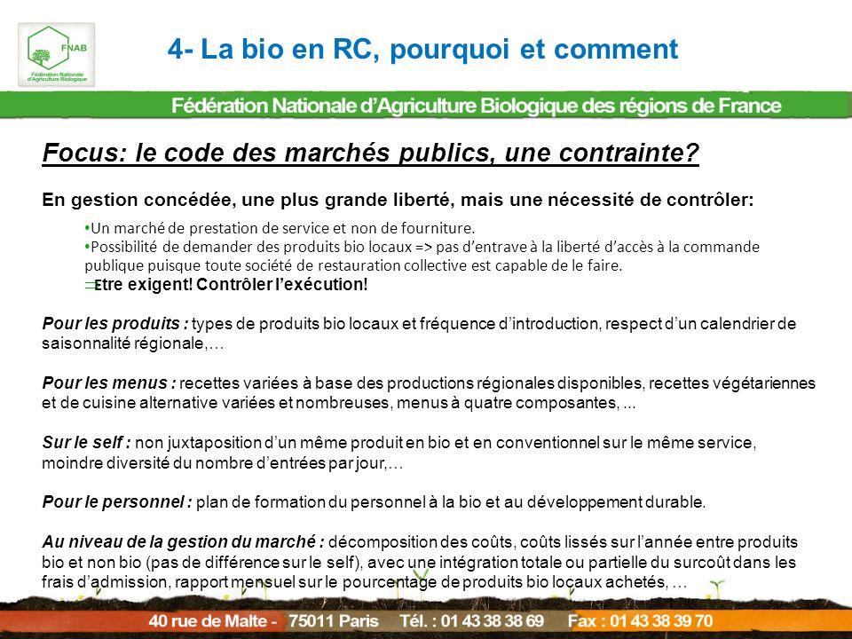 4- La bio en RC, pourquoi et comment Focus: le code des marchés publics, une contrainte? En gestion concédée, une plus grande liberté, mais une nécess