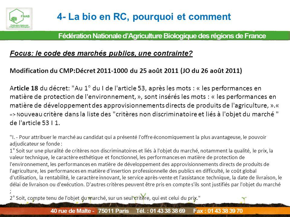 4- La bio en RC, pourquoi et comment Focus: le code des marchés publics, une contrainte? Modification du CMP:Décret 2011-1000 du 25 août 2011 (JO du 2