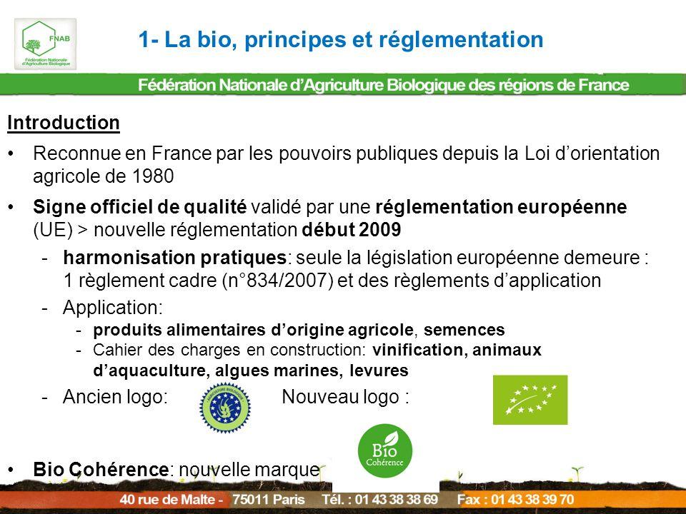 Introduction Règlement cadre n°834/2007 (règlement européen): « La production biologique est un système global de gestion agricole et de production alimentaire qui allie les meilleures pratiques environnementales, un haut degré de biodiversité, la préservation des ressources naturelles, l application de normes élevées en matière de bien-être animal et une méthode de production respectant la préférence de certains consommateurs à l égard de produits obtenus grâce à des substances et à des procédés naturels ».
