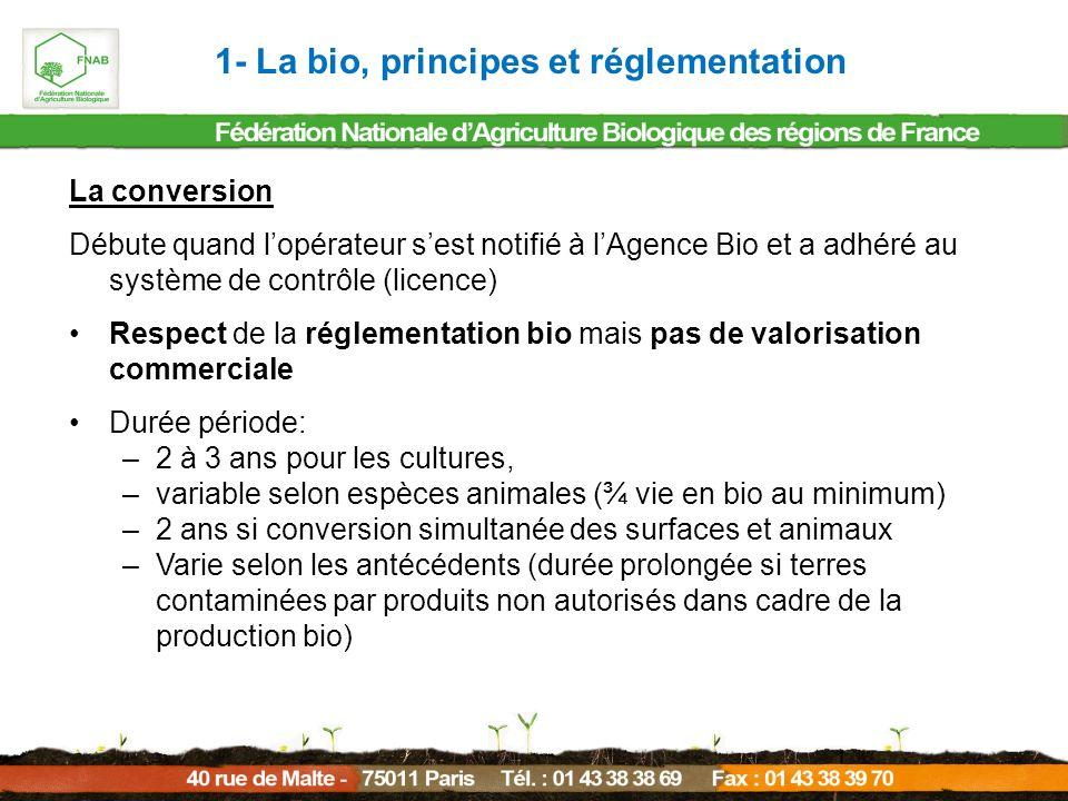 La conversion Débute quand lopérateur sest notifié à lAgence Bio et a adhéré au système de contrôle (licence) Respect de la réglementation bio mais pa