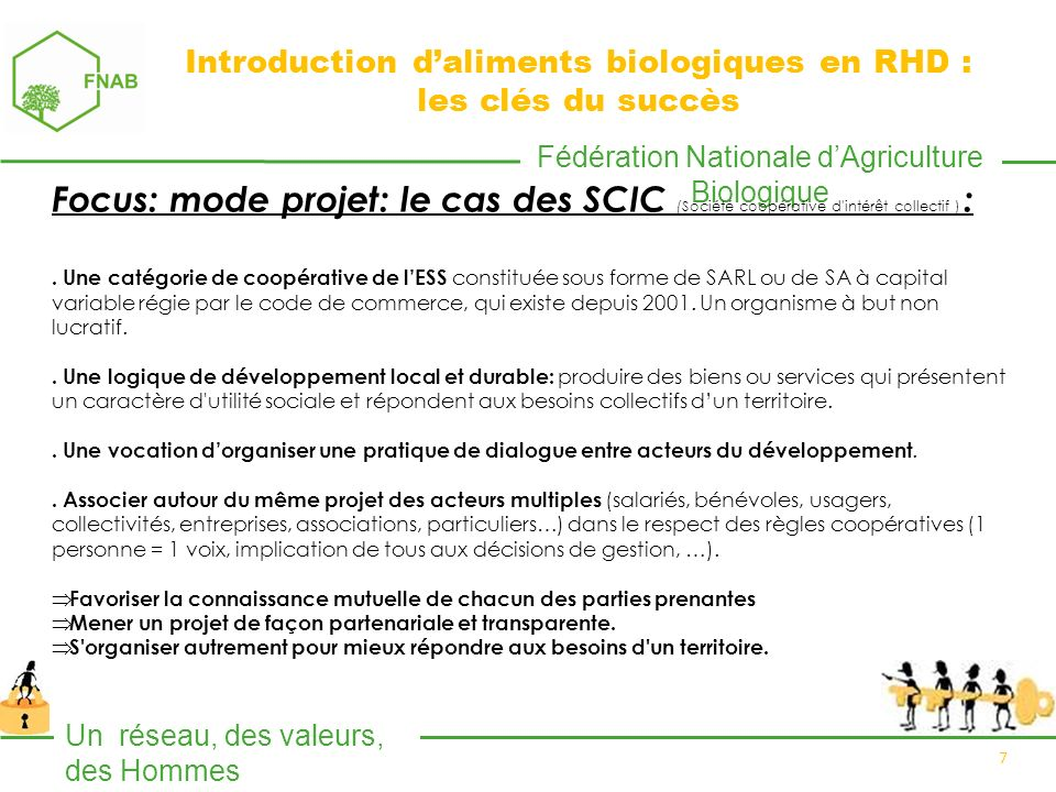Fédération Nationale dAgriculture Biologique Un réseau, des valeurs, des Hommes 7 Focus: mode projet: le cas des SCIC (Société coopérative d intérêt collectif ) :.