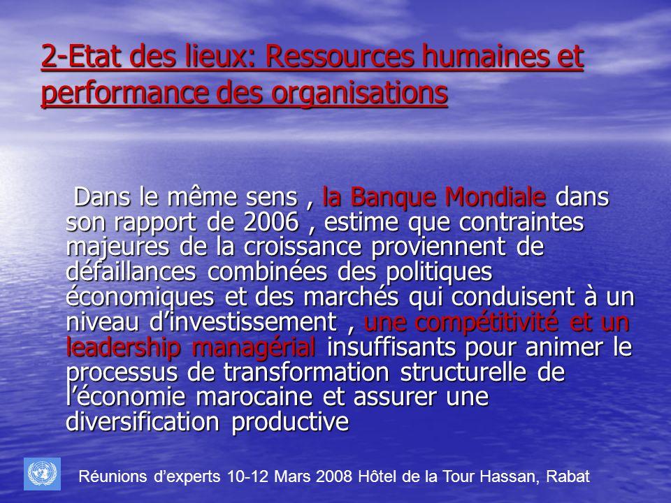 2-Etat des lieux: Ressources humaines et performance des organisations Dans le même sens, la Banque Mondiale dans son rapport de 2006, estime que cont