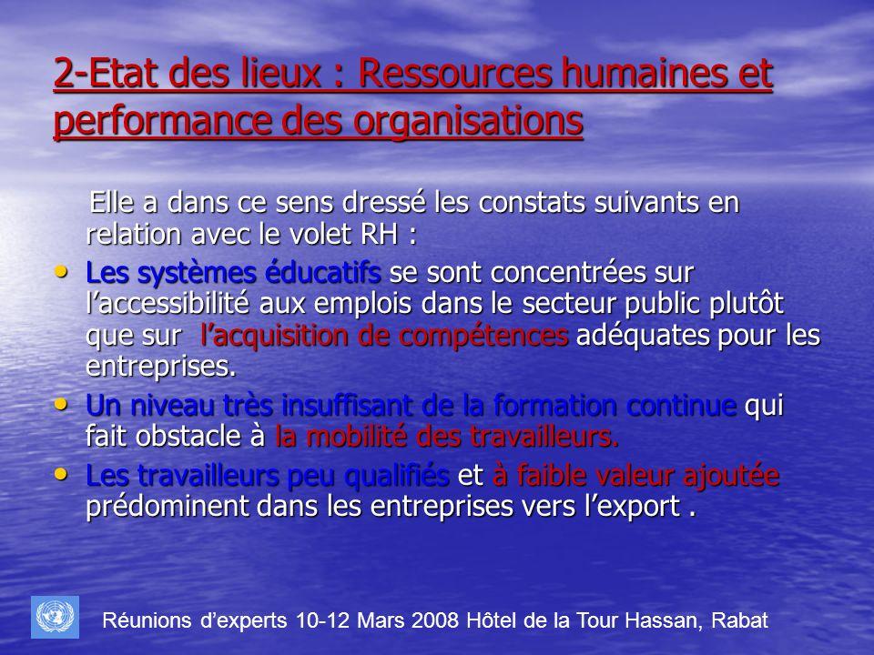 2-Etat des lieux : Ressources humaines et performance des organisations Elle a dans ce sens dressé les constats suivants en relation avec le volet RH