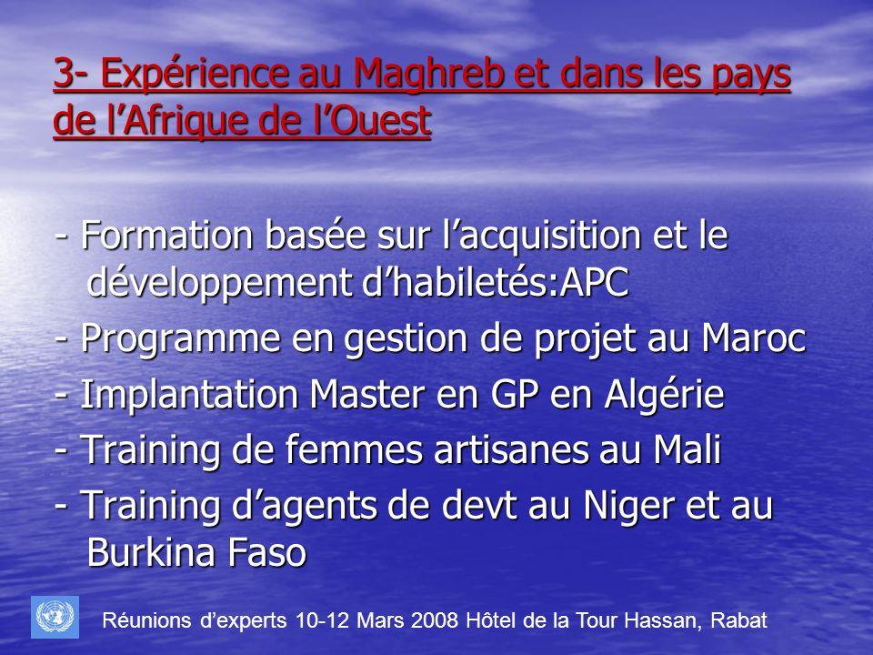 3- Expérience au Maghreb et dans les pays de lAfrique de lOuest - Formation basée sur lacquisition et le développement dhabiletés:APC - Programme en g